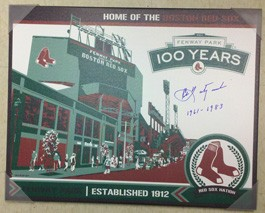 100 years of Fenway Park Framed Canvas Autographed by Carl Yastrzemski