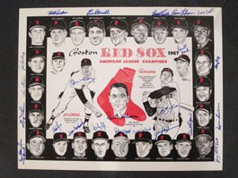 1967 Boston Red Sox Team Autographed Placemat