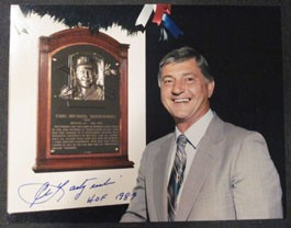 Carl Yastrzemski Hall of Fame Plaque Autographed Photo with HOF 1989 Inscription