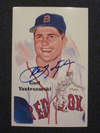 Carl Yastrzemski Autographed Perez-Steele Art Postcard