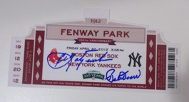 Commemorative Ticket from 100 years of Fenway Park Celebration Autographed by Carl Yastrzemski and Bobby Doerr