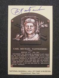 Carl Yastrzemski Autographed Hof Plaque Card Carl Yastrzemski