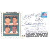 Baseball's Last Four Triple Crown Winners Mantle, Williams, Yaz, and Robinson Autographed Card