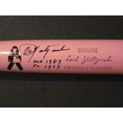Carl Yastrzemski Autographed Pink Mother's Day Bat with HOF 1989 and TC 1967 Inscriptions