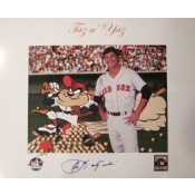 Carl Yastrzemski and Taz Autographed Photo