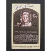 Carl Yastrzemski Autographed HOF Plaque Card