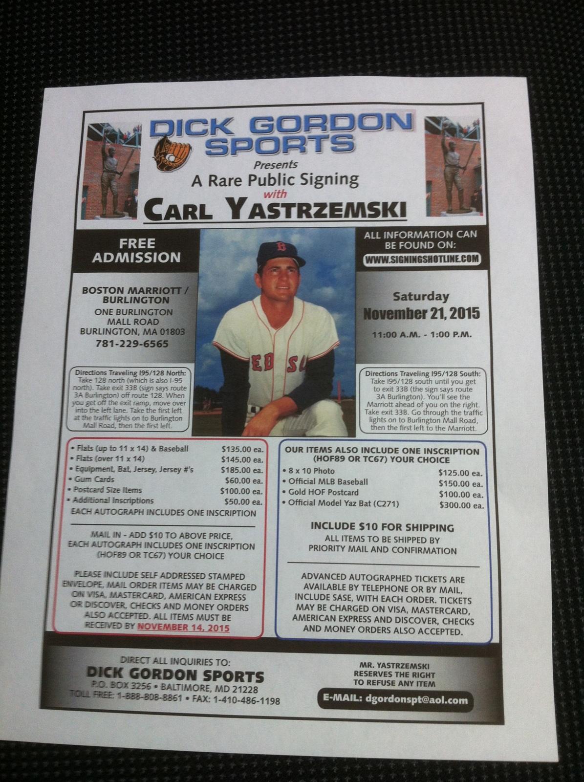 Carl Yastrzemski Signing
