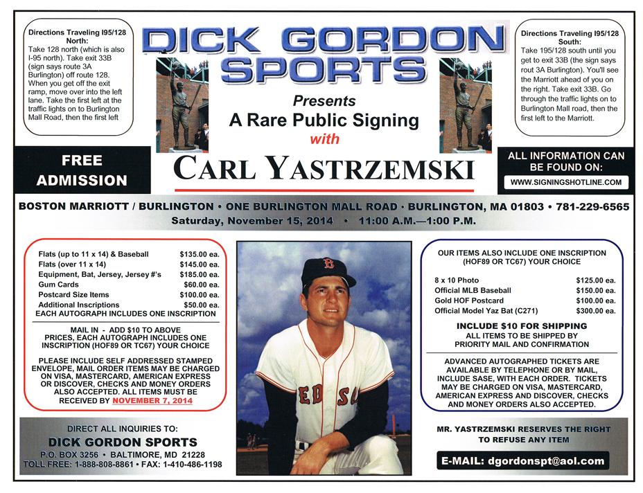 Carl Yastrzemski signing 2014
